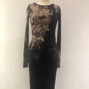 Jean Paul Gaultier Tattoo Print Midi Dress
